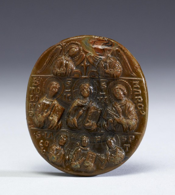 Pilgrim Medallion with Christ, Angels, Apostles, and Saints