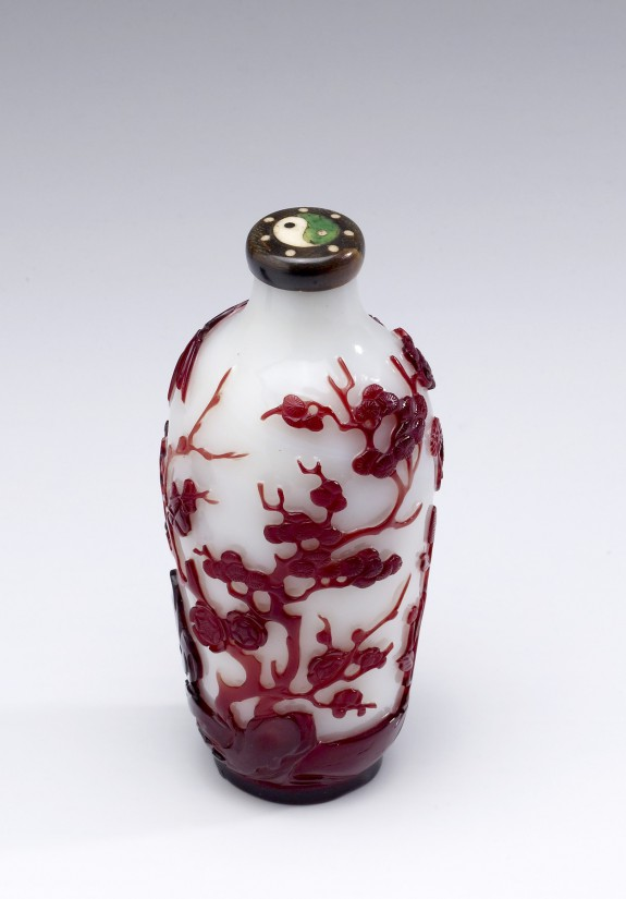 Bottle with Bamboo and Flowers