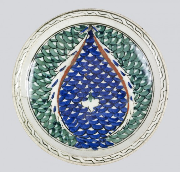 Plate with Two Leaves with Scale Pattern