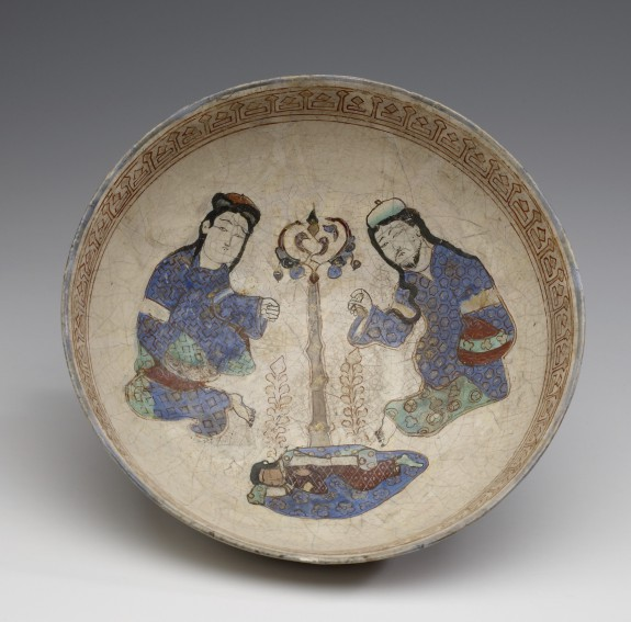 Bowl with Seated Figures Flanking a Tree