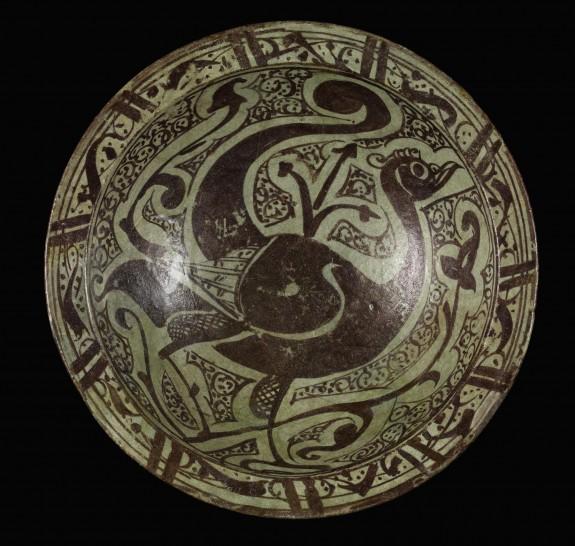 Lusterware Bowl with Peacock