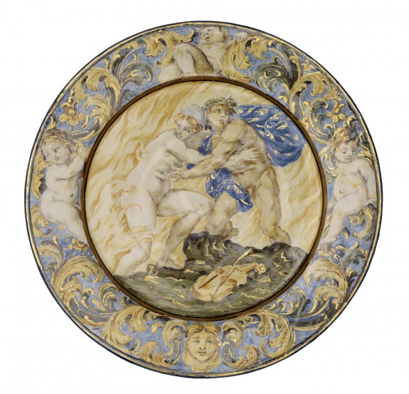 Plate with Orpheus and Eurydice