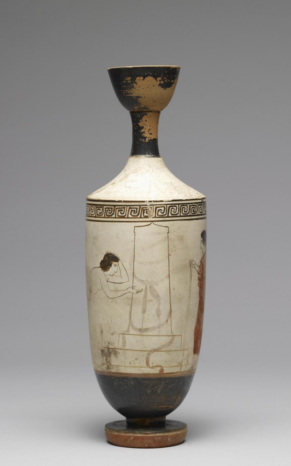 Lekythos with a Visit to a Grave