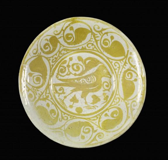 Lusterware Plate with Bird Motif