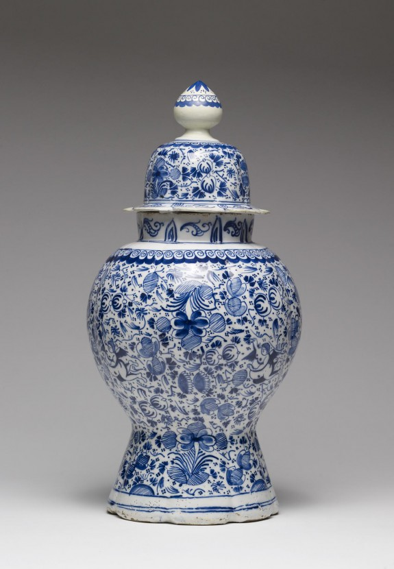 Delftware Covered Vase with Angels Among a Floral Design