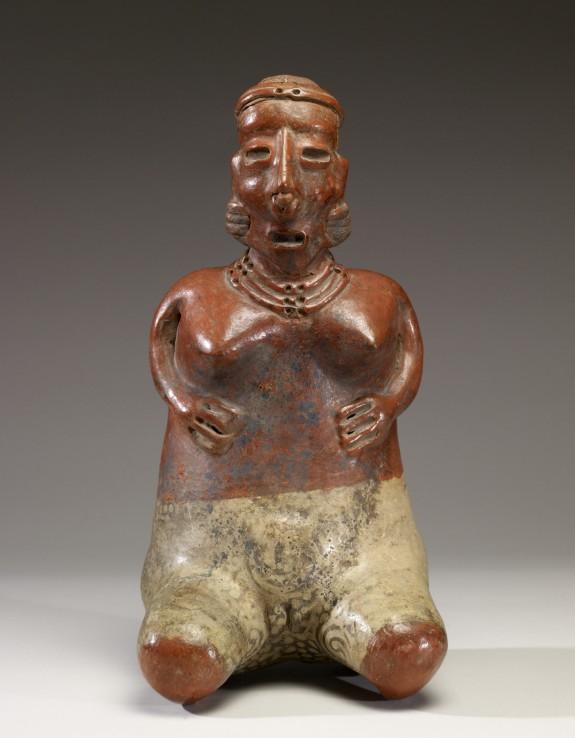 Kneeling Female Figure with Hands on Abdomen