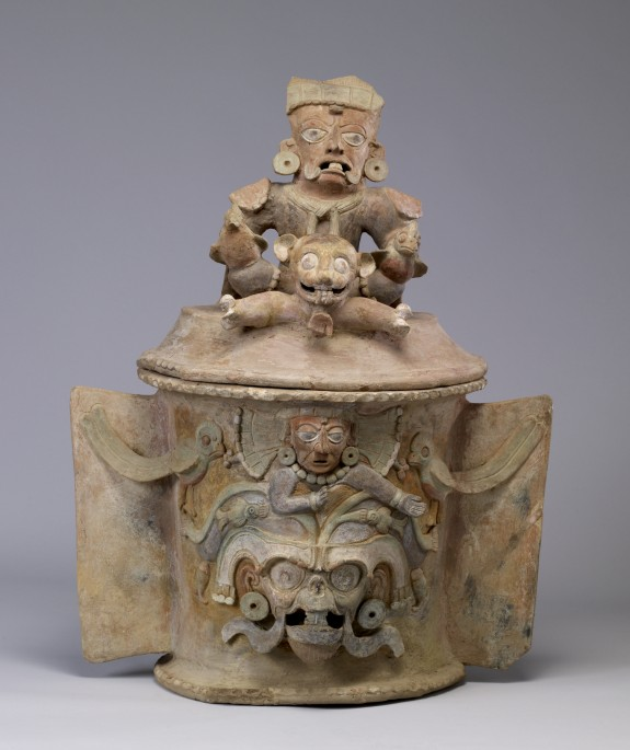 Maya Polychrome Lidded Urn with Seated Figure