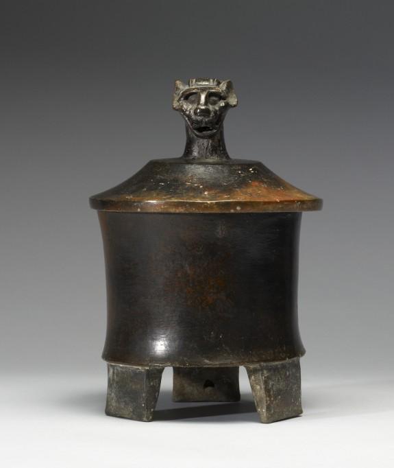 Lidded Tripod Vase with Jaguar Head Finial