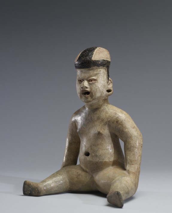 Hollow Seated Figure with Asphalt Paint