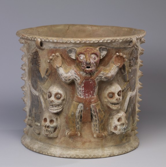 Polychrome Figural Urn with Jaguars and Skulls