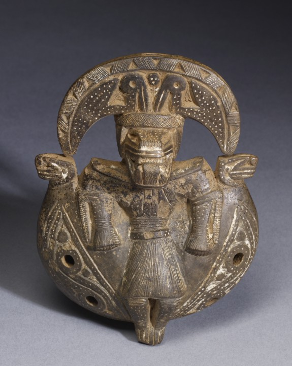 Ocarina with Standing Zoomorphic Figure with Crescent Headdress