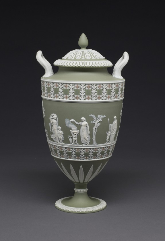 Covered Vase with Women and Children at Worship