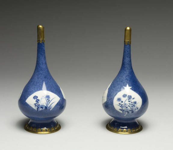 Pair of Blue and White Bottles Mounted as Perfume Sprinklers