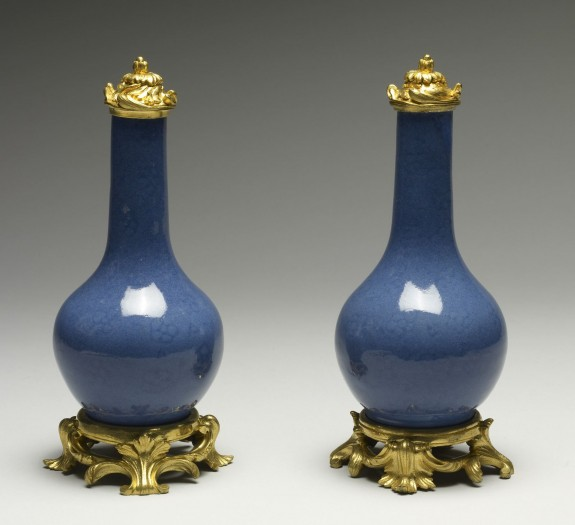 Pair of Powder Blue Bottles with Prunus Blossoms