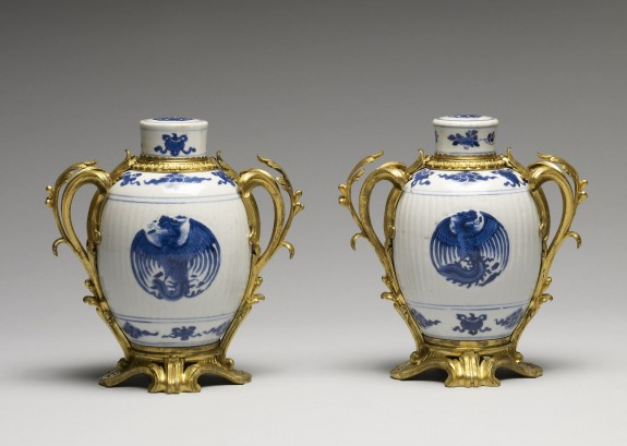Pair of Blue and White Jars with Three Peonies and Symbols