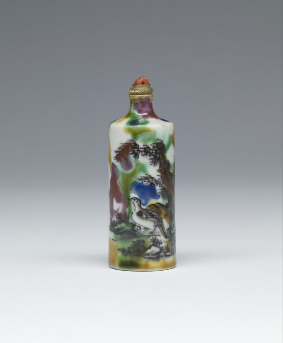 Snuff Bottle with Bird and Landscape
