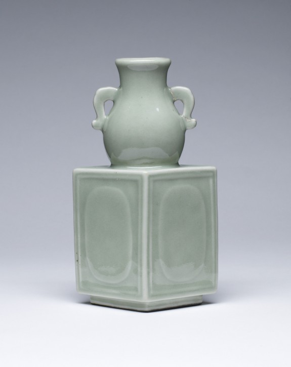 Diamond-Shaped Bottle with Neck in the Form of a Small Jar