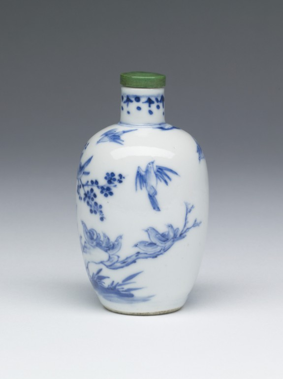 Snuff Bottle with Birds and Flowering Tree