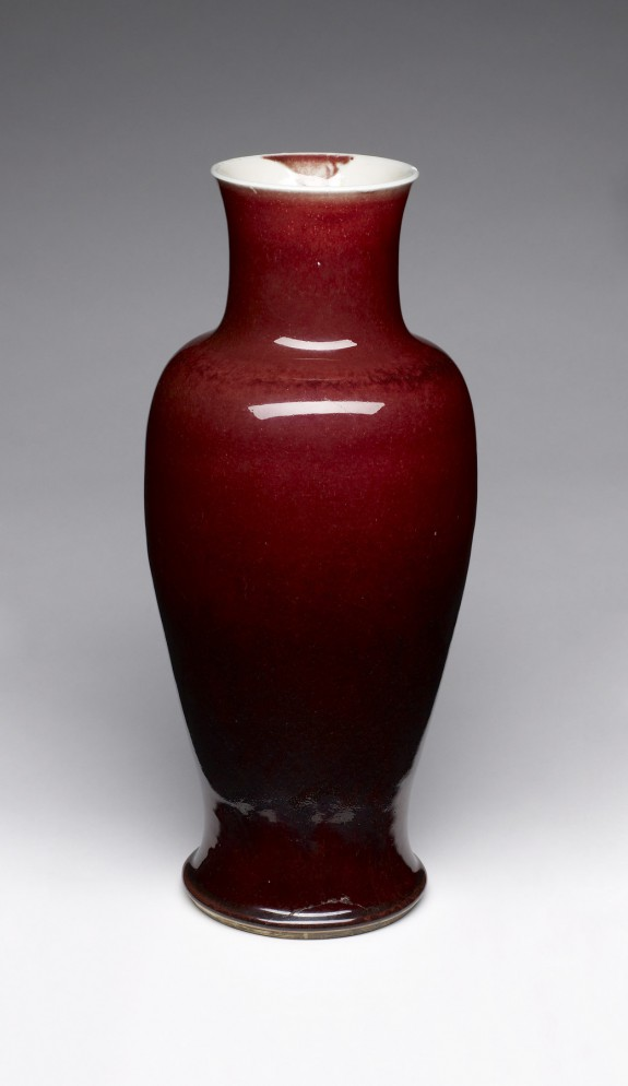 Cherry-Red Baluster-Shaped Vase