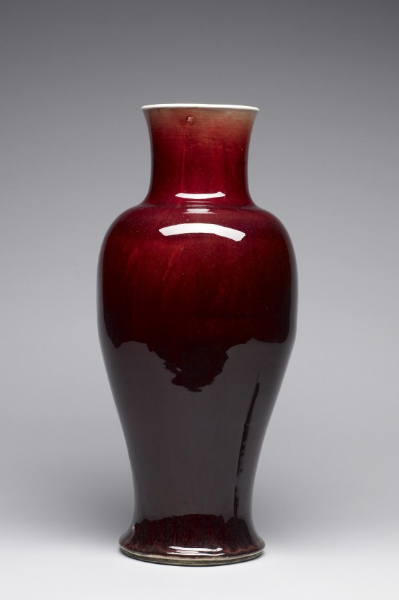 Large Crimson Baluster Vase