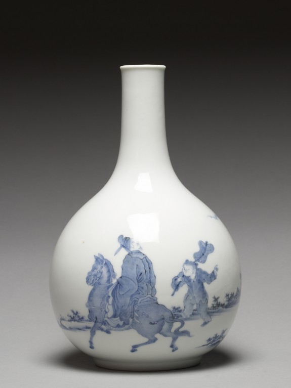 Bottle wih a Chinese Gentleman on Horseback