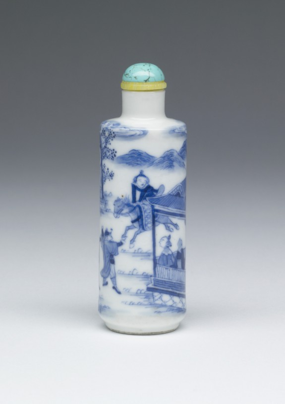 Snuff Bottle with Figures in a Pavillion