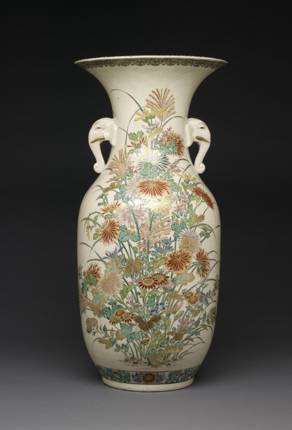 Vase with Autumn Flowers and Elephant Handles