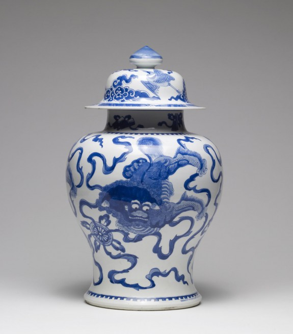 Jar with Three Lions Playing with Balls and Ribbons