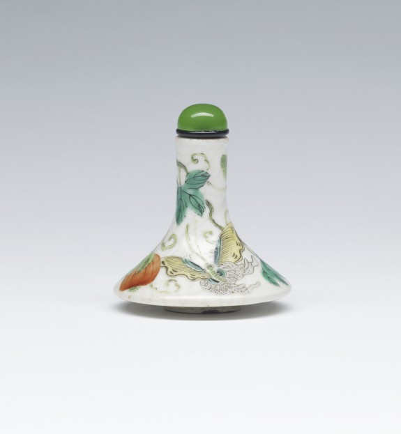 Snuff Bottle with Butterflies and Melon Vine