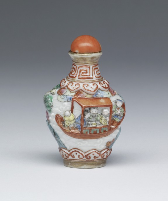 Snuff Bottle with Two Figures in a Landscape and Men in a Boat