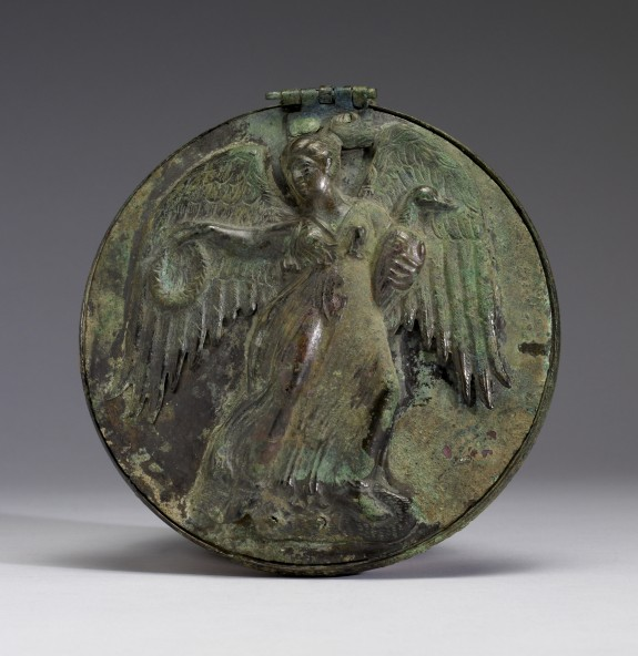 Mirror with Winged Female Holding Wreath and Goose