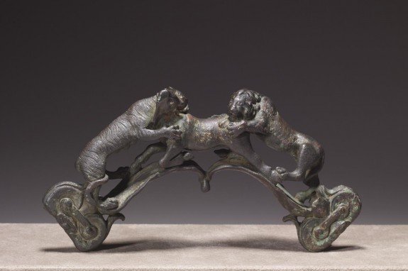 Handle Depicting a Lion and a Tigress Attacking a Bull