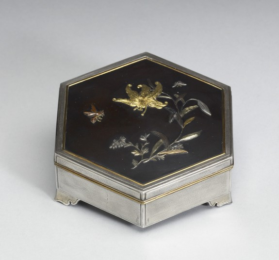 Hexagonal Box with Tiger Lily and a Bee