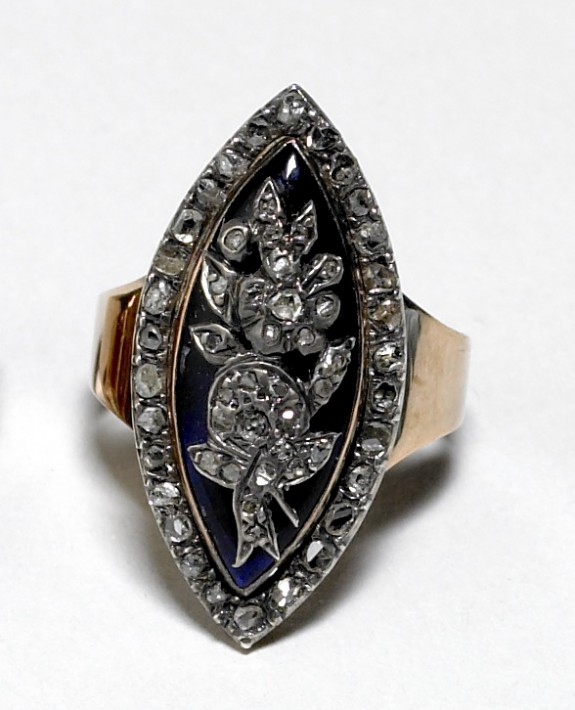 Marquise Ring with Floral Decor