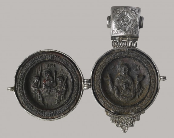 Pendant (Panaghiarion) with the Hospitality of Abraham, the Virgin Orans, and the Crucifixion
