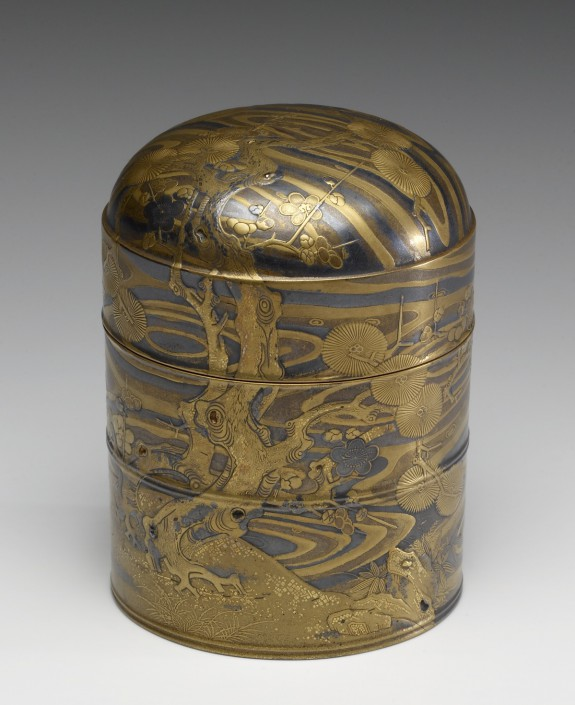 Tiered Hair-Oil Container with Pine and Plum Trees by a Stream