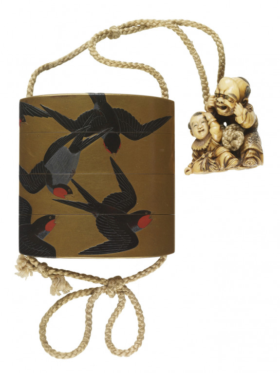 Inro with Seven Flying Swallows; Netsuke of a Boy with a Mask and an Infant