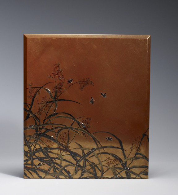 Box for Writing Implements (suzuri-bako) with Fireflies and Reeds
