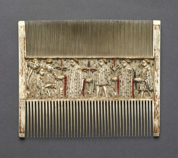 Double Comb with Scenes of Courtly Life