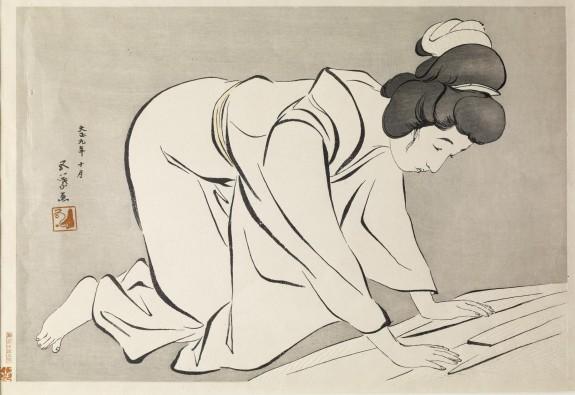 着物をたたむ女 (Woman Folding a Kimono)