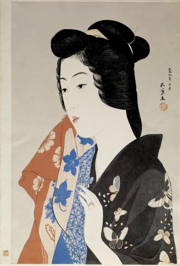 手拭持てる女 (Woman Holding a Towel)