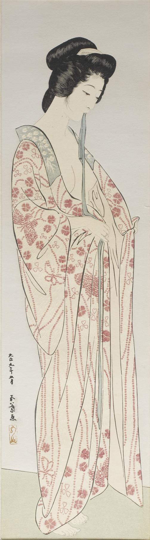 長襦袢の女 (Woman Dressing in a Long Undergarment)