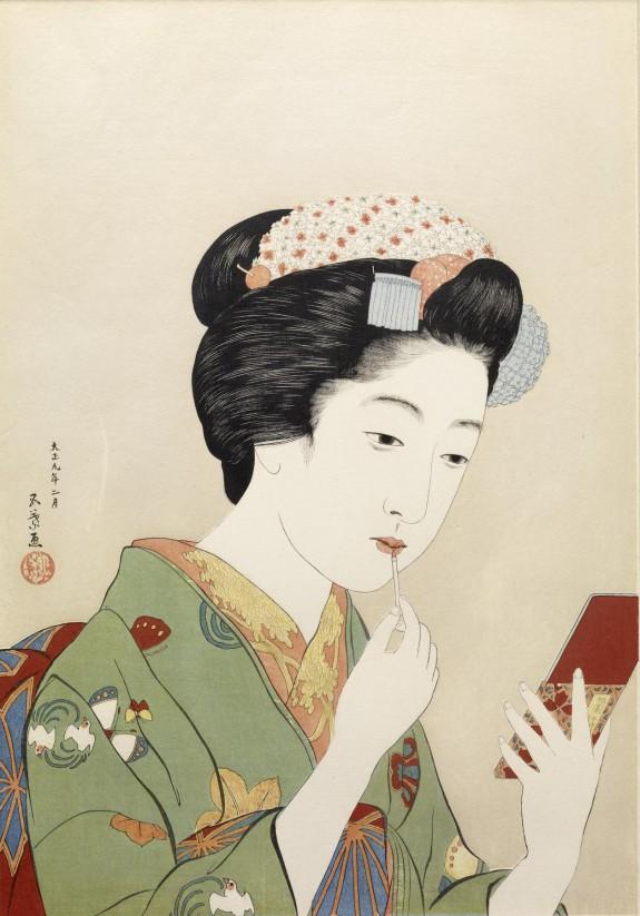 紅筆持てる女 (Woman Applying Color to Her Lips)