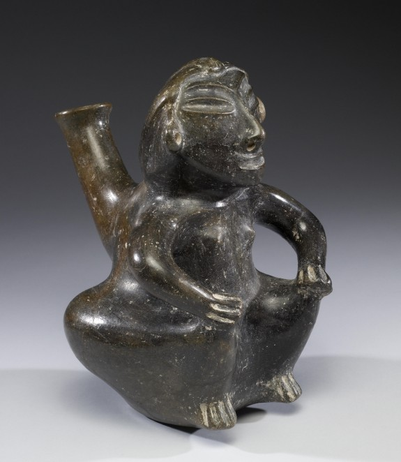 Seated Female Effigy Vessel with Tall Spout