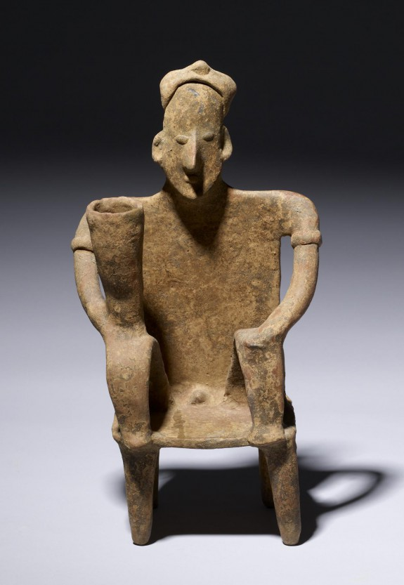 Seated Male Figure with Tall Vessel