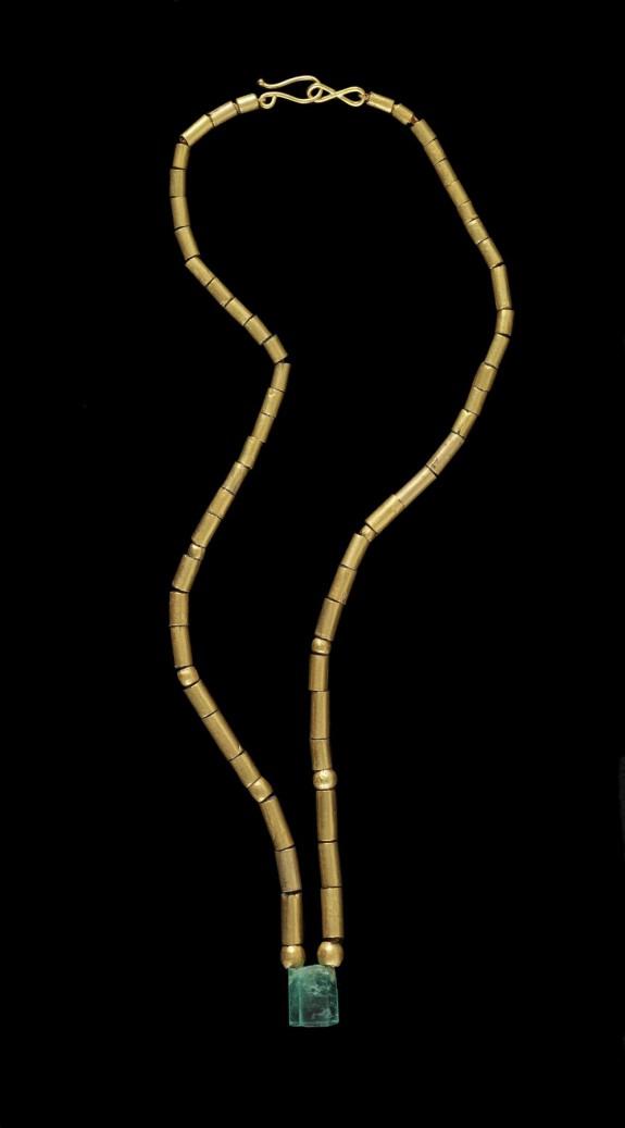 Tubular Bead Necklace and Emerald Pendant