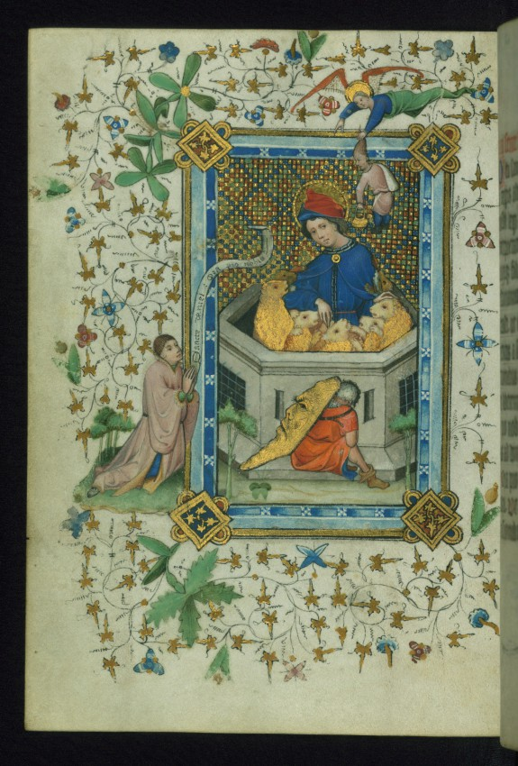 Leaf from Book of Hours of Daniel Rym: Saint Daniel in the Lions' Den Revered by the Manuscript Owner Daniel Rym