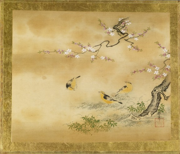 Yellow Birds and Peach Tree