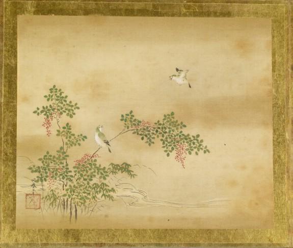 Green Birds and Nandina