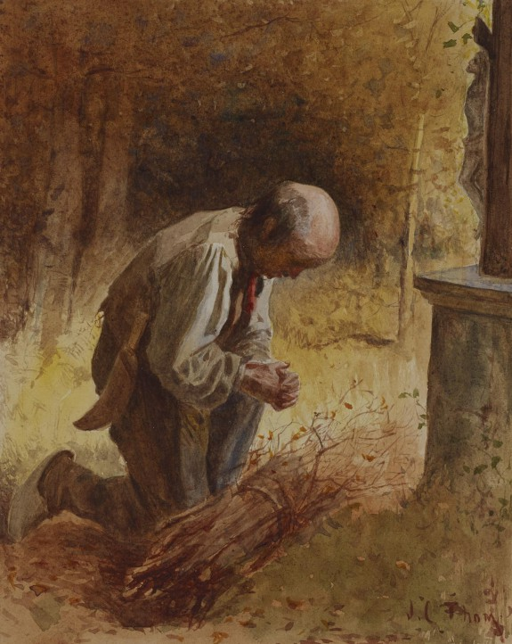 Woodcutter Kneeling before a Forest Shrine